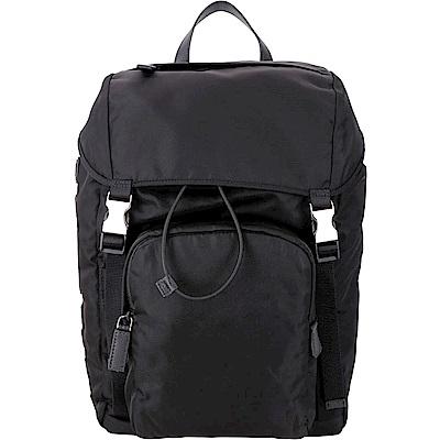 PRADA Montagna 品牌字母標誌尼龍後背包(黑色)