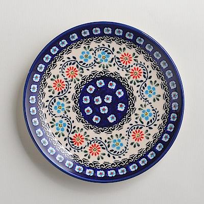 波蘭陶手工製 典雅花團 淺底圓形餐盤19cm