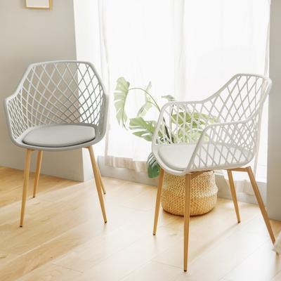 [時時樂限定 買一送一] 完美主義 幾何簍空百搭餐椅/化妝椅/會議椅/休閒椅/書桌椅(3色)