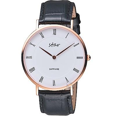 STAR 時代羅馬極簡時尚腕錶(7T1902-441RG-WD)-黑皮