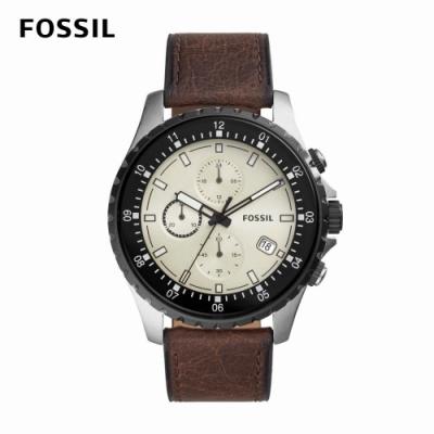 FOSSIL Dillinger 個性時尚三眼計時男錶 棕色真皮皮革錶帶 48MM FS5674