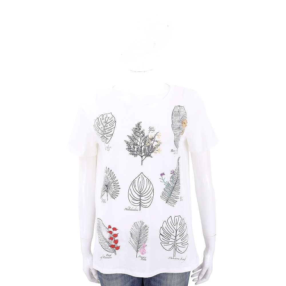 Max Mara-WEEKEND 植物圖鑑白色短袖T恤