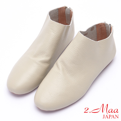2.Maa 襪靴套拉鍊設計小牛皮高筒包鞋 - 米