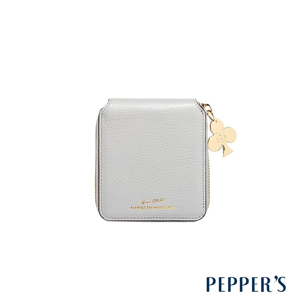 PEPPER'S Doris 牛皮拉鍊中夾 - 迷霧灰