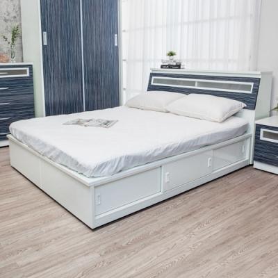 Birdie南亞塑鋼-5尺雙人加高型六拉門塑鋼床組(床頭箱+加高推門收納床底)(鐵刀木色)
