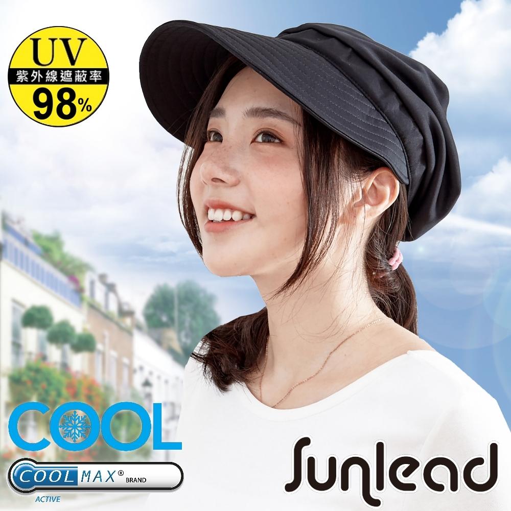 Sunlead 吸濕排汗。COOLMAX涼感透氣防曬貝雷帽 (黑色)