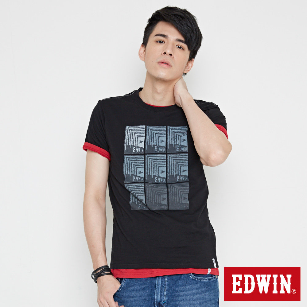 EDWIN 九宮格疊影印花短袖T恤-男-黑色