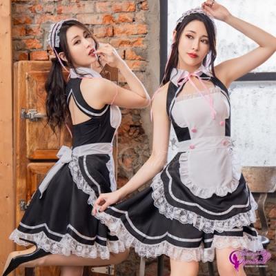 Sexy Cynthia 角色扮演 夢幻俏女僕圍裙式澎澎裙三件式角色服-黑F