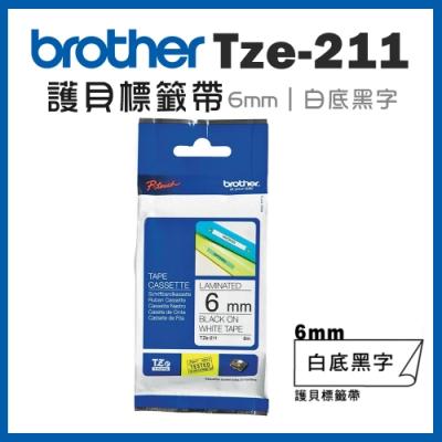 Brother TZe-211 護貝標籤帶 ( 6mm 白底黑字 )