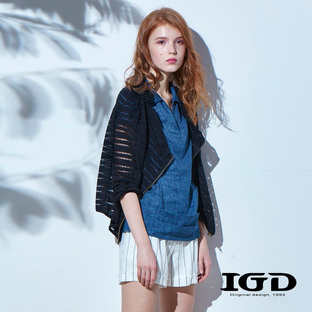 IGD英格麗 網紗透膚條紋抓摺外套