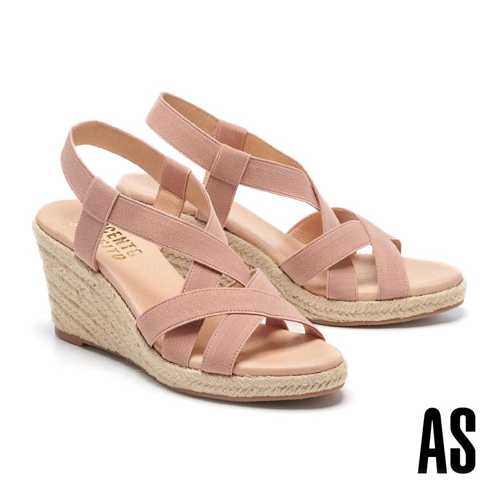 涼鞋 AS 彈力繃帶羅馬交叉繫帶草編楔型高跟涼鞋-粉