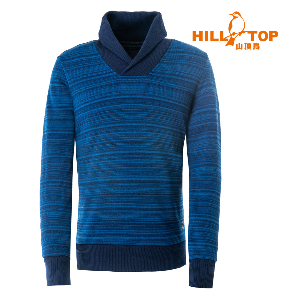 【hilltop山頂鳥】男款ZISOFIT吸溼快乾保暖刷毛上衣H51MH5丈青條