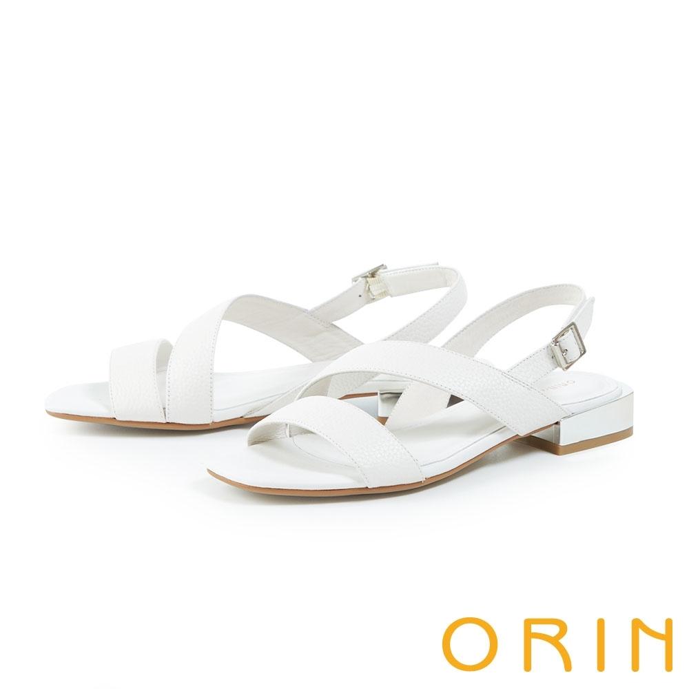 ORIN 壓紋真皮斜邊銀跟 女 涼鞋 白色