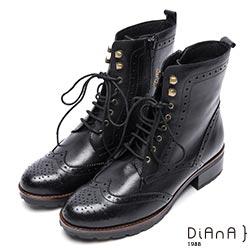 DIANA 英倫街頭-個性潮流復古擦色牛津短靴-黑