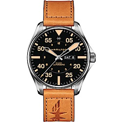 Hamilton 漢米爾頓 卡其飛行員機械錶-黑x卡其色/46mm H64725531