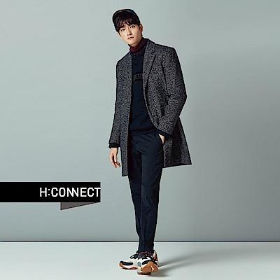 H:CONNECT 韓國品牌 男裝-混色毛呢翻領西裝外套-黑