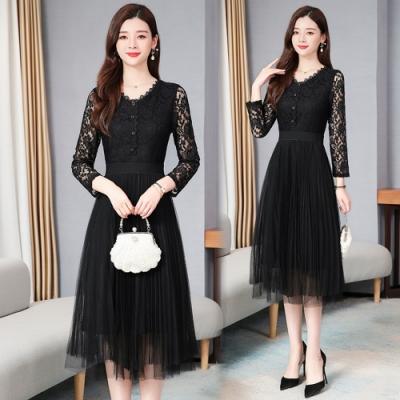 黑蕾絲V領鏤空袖收腰網紗洋裝M-4XL-KVOLL