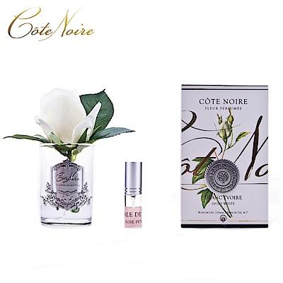 法國 CoteNoire 蔻特蘭 小朵象牙白玫瑰香氛花透明瓶