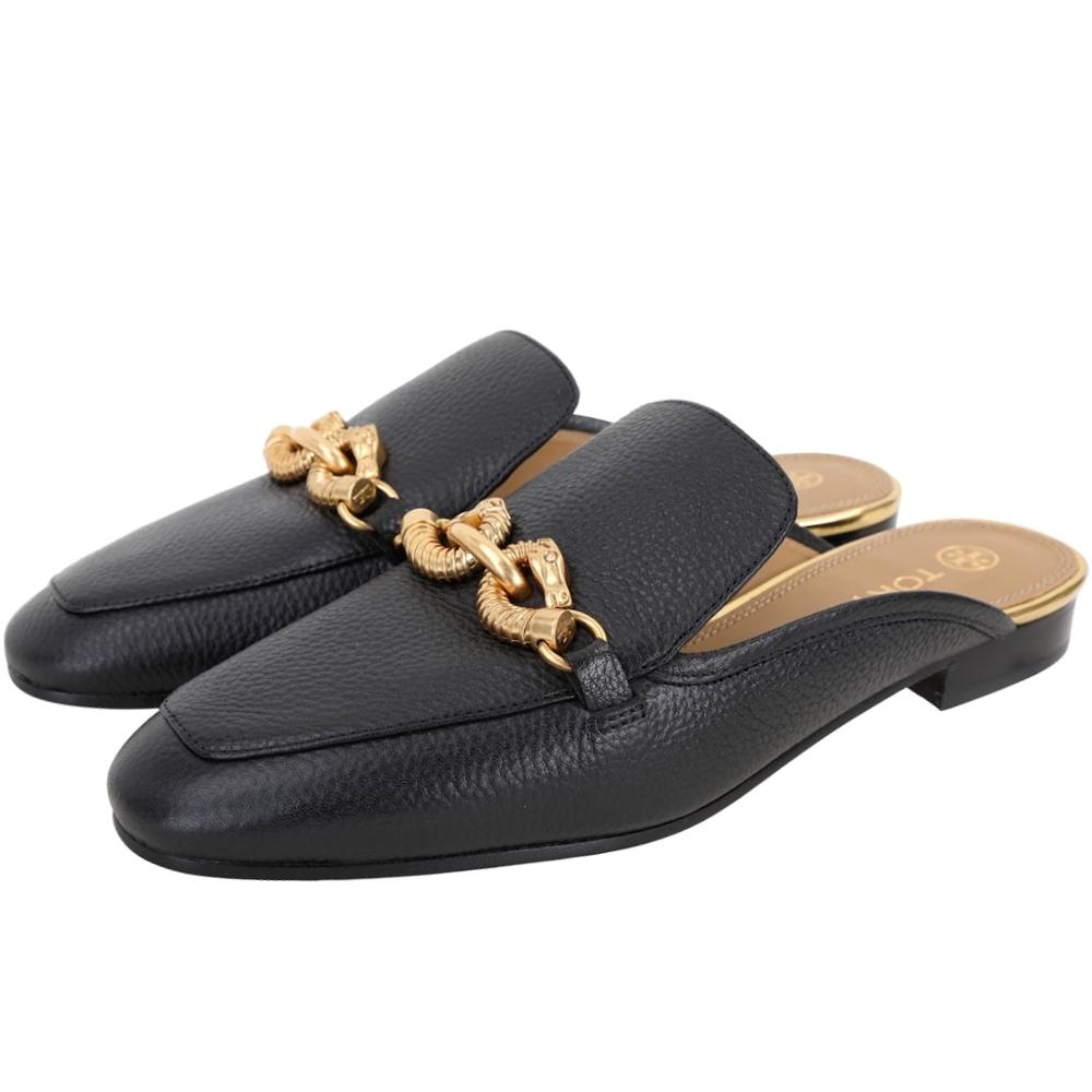 TORY BURCH Jessa 金屬鍊荔紋牛皮穆勒鞋(黑色)