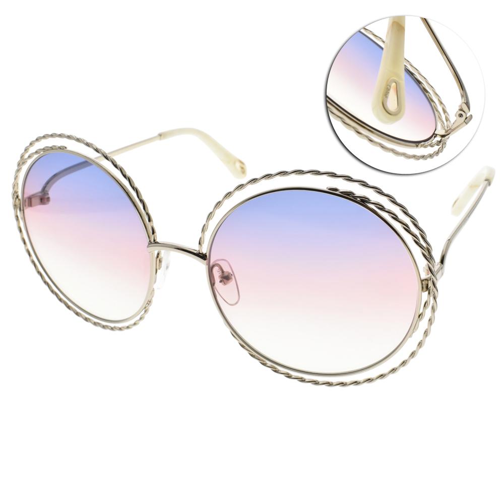 CHLOE太陽眼鏡 熱銷大圓框/淡金-漸層藍粉#CE114ST 779