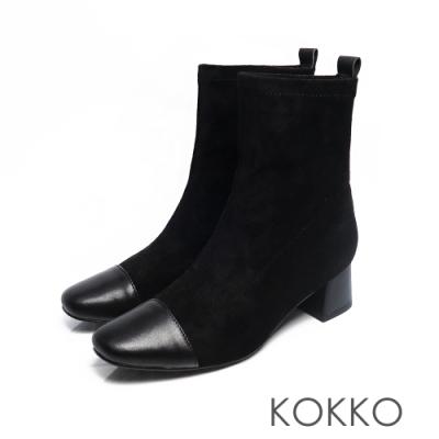 KOKKO -再見倫敦拼接方頭粗跟窄筒靴- 優雅黑