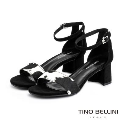 Tino Bellini馬毛乳牛紋後包中跟涼鞋_黑