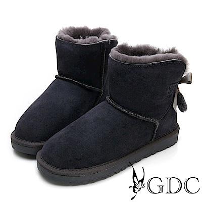 GDC-秋冬必備超夢幻狐狸毛緞帶蝴蝶結暖暖雪靴-灰色