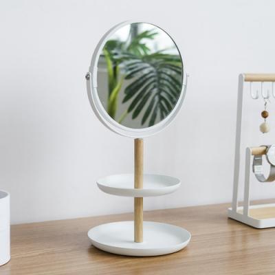 放大雙面圓鏡置物飾品架