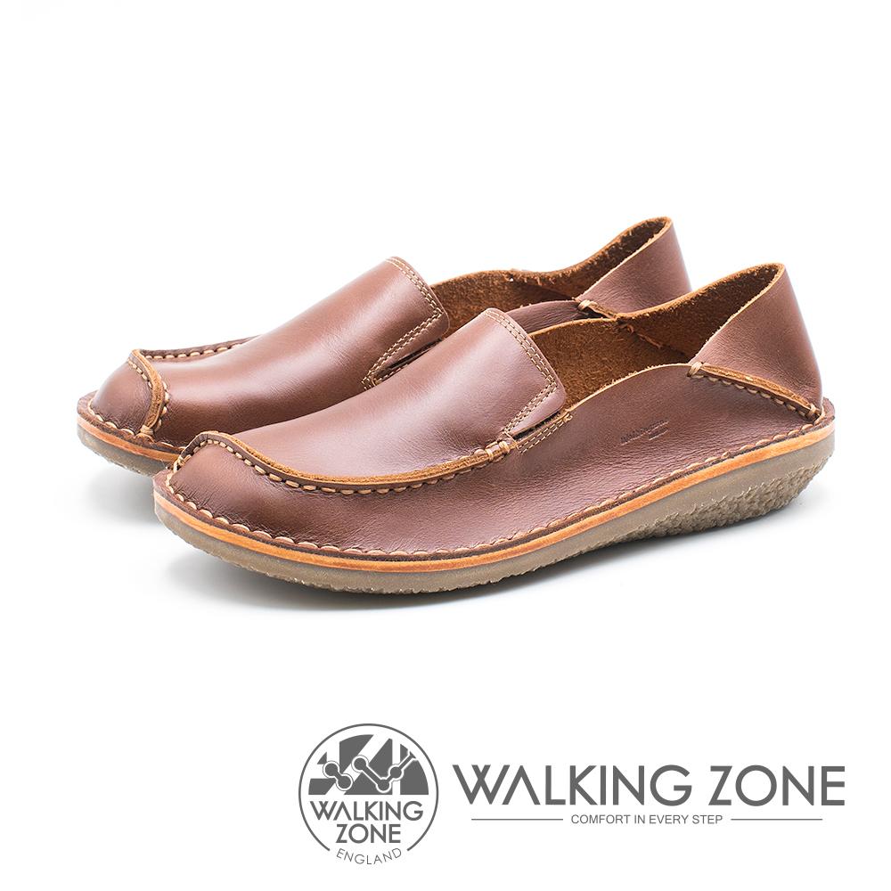 WALKING ZONE 皮革直套式兩穿懶人鞋 女鞋 - 咖 (另有藍)