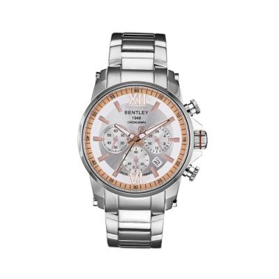 BENTLEY賓利 RACING系列 競速美學計時手錶-銀x玫瑰金/43mm