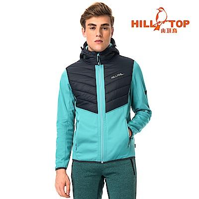 【hilltop山頂鳥】男款遠紅外線發熱科技保暖棉連帽刷毛外套H22MX3灰綠