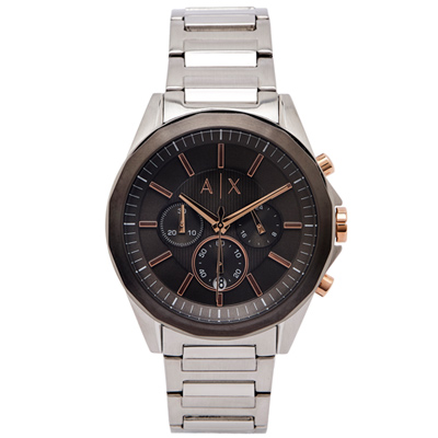 A/X ARMANI EXCHANGE 三眼計時手錶(AX2606)-灰黑面/43mm