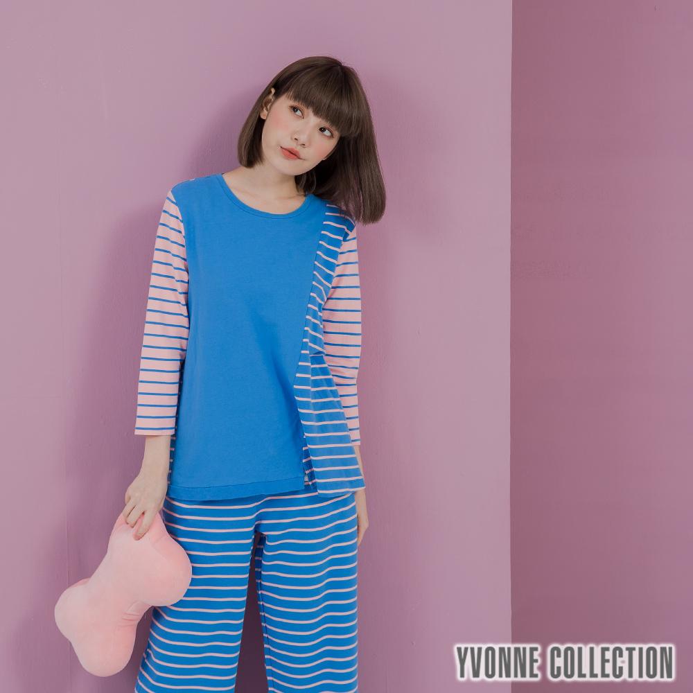 YVONNE 條紋拼接七分袖上衣- 藍