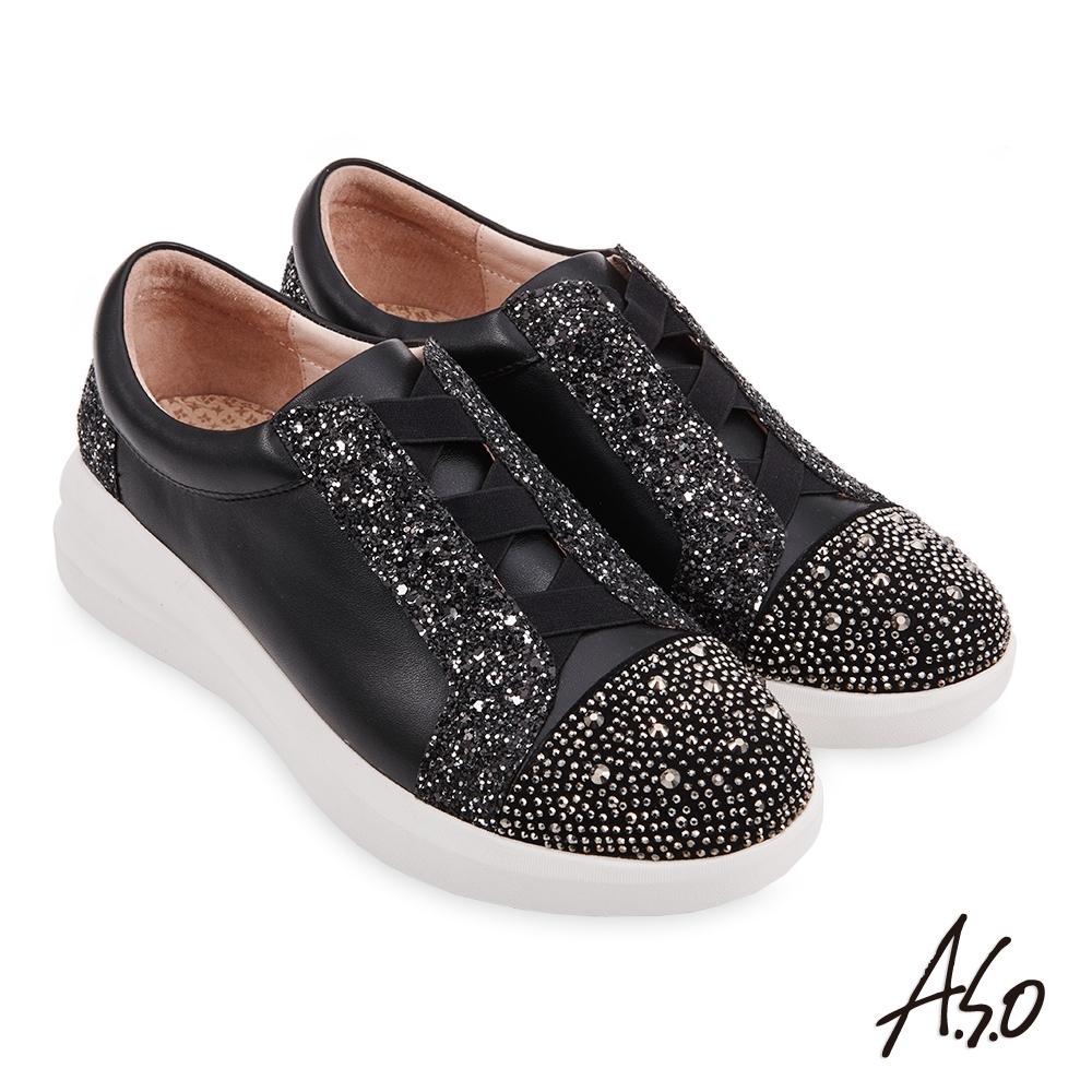 A.S.O  機能休閒 Q彈紓壓金蔥布交叉鬆緊帶輕巧休閒鞋-黑