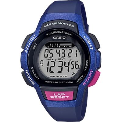CASIO 卡西歐 運動慢跑女錶-藍x粉紅(LWS-1000H-2A)
