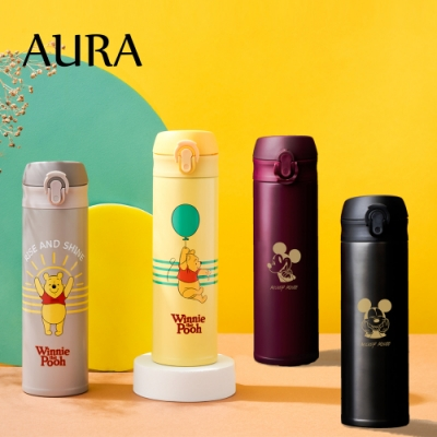 [超值2入組] AURA 艾樂 限定米奇/維尼系列彈蓋陶瓷易潔層保溫瓶500ML(4款任選)