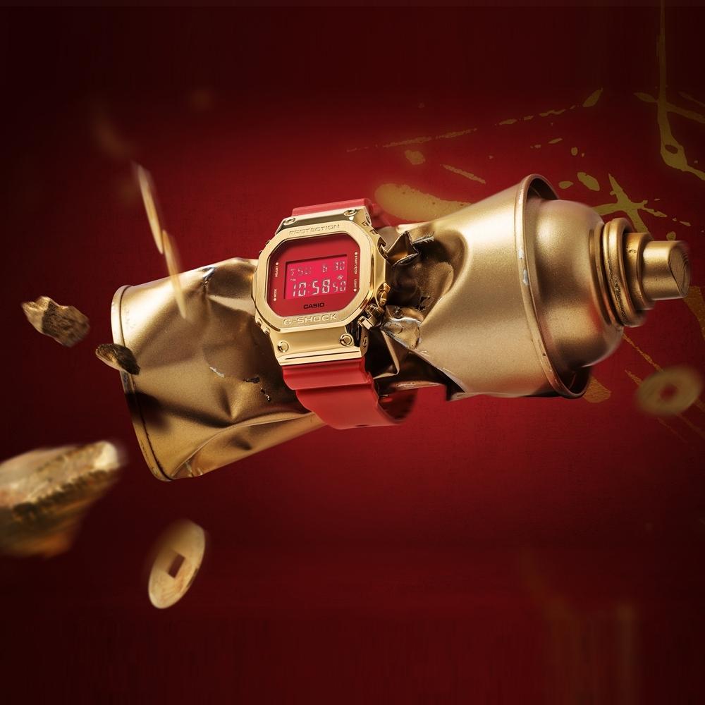 CASIO卡西歐 G-SHOCK 全金屬外殼 經典系列 紅金 牛年限定 新年節慶款 GM-5600CX-4_43.2mm