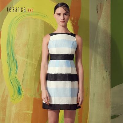 JESSICA RED - 甜美藍白黑條紋撞色收腰無袖洋裝(藍)
