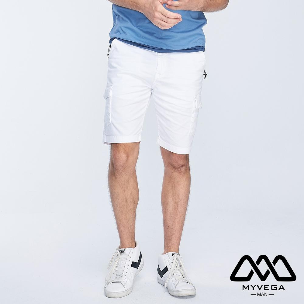 MYVEGA MAN工裝多口袋素色短褲-白