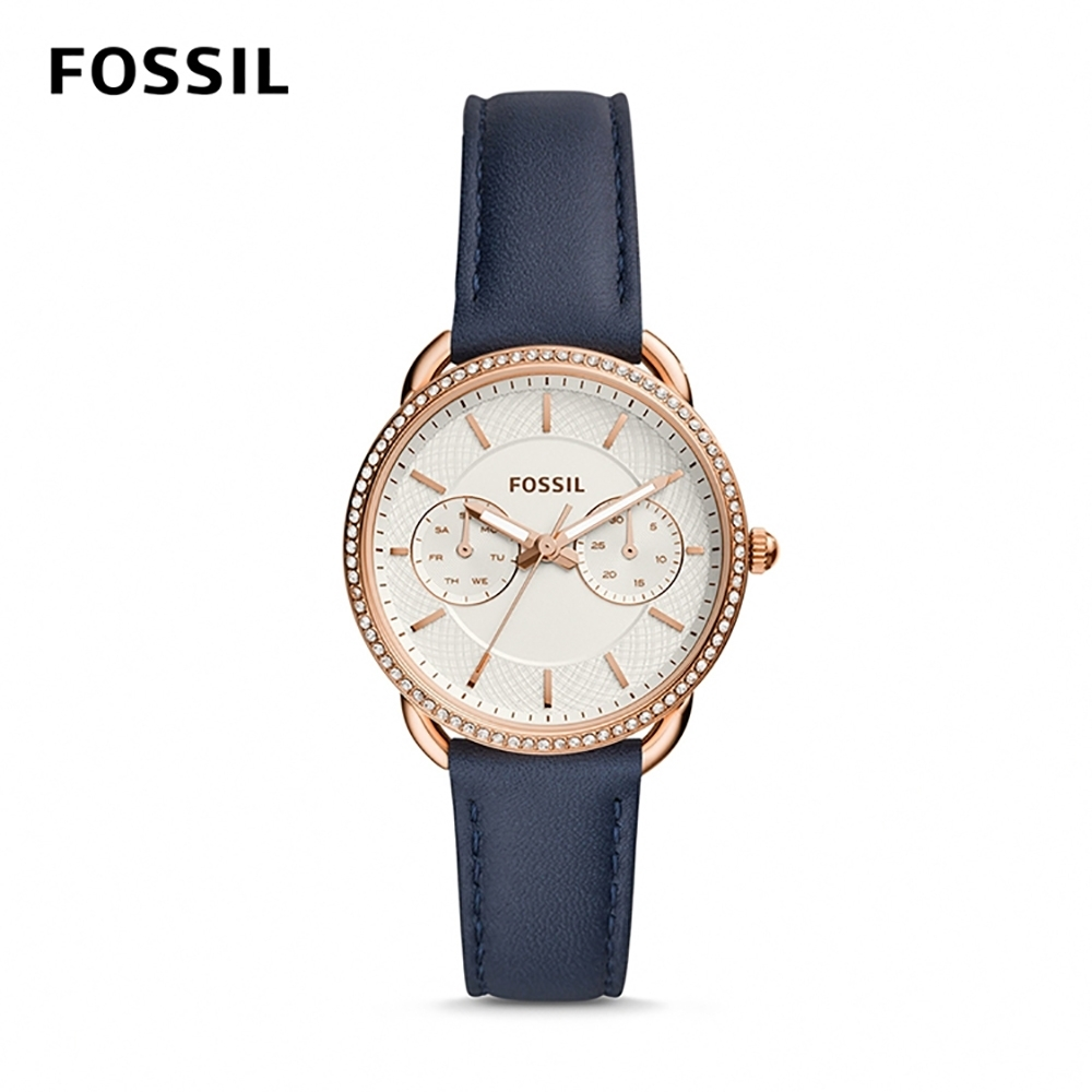 FOSSIL TAILOR 深藍鑲鑽多功能皮革女錶 35mm ES4394