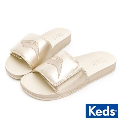 Keds BLISS V 經典Wave Logo輕量皮革拖鞋-香檳金