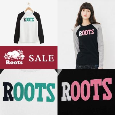 [時時樂限定] ROOTS女裝 撞色厚棉棒球長袖T恤 兩色選