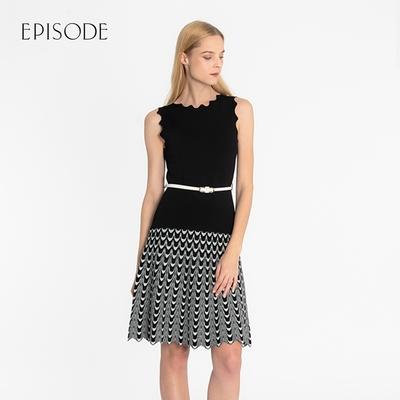 EPISODE - 撞色條紋設計修身無袖針織洋裝