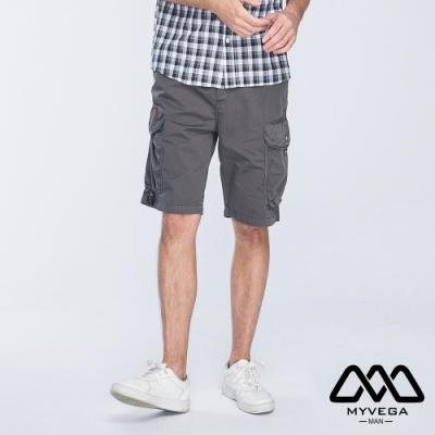 MYVEGA MAN可調節腰帶多口袋工裝短褲-鐵灰