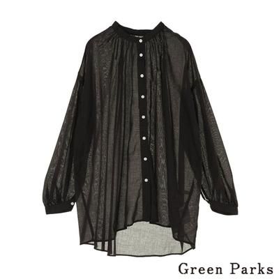 Green Parks 領口抓摺長袖襯衫