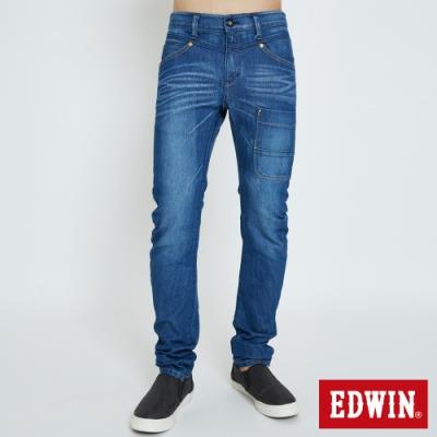 EDWIN E-FUNCTION 3D機能剪裁 窄直筒牛仔褲-男-石洗藍