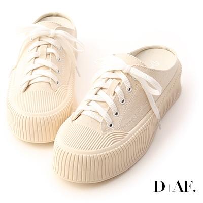 D+AF 樂活主題.休閒帆布厚底穆勒鞋*米