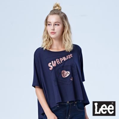 Lee 亮片Surprise電話機 前短後長上衣-藍