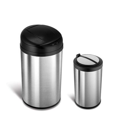 美國NINESTARS時尚不銹鋼感應垃圾桶40L+12L(買大送小廚衛優惠組)
