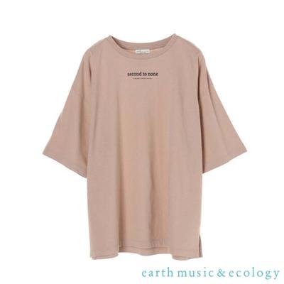 earth music   second to none標語落肩寬鬆剪裁短袖T恤